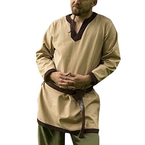 fengduo Camisa Medieval de Hombres Cuello en V Raya Camisetas Vintage Suelto Vikingo Shirt Gótico Steampunk Ropa Tradicional