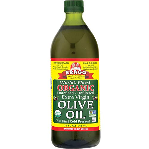 Bragg Organic Extra Virgin Olive Oil – Made with Greek Koroneiki Olives – Cold Pressed EVOO for Marinades & Vinaigrettes – USDA Certified, Non-GMO, Kosher 32 oz