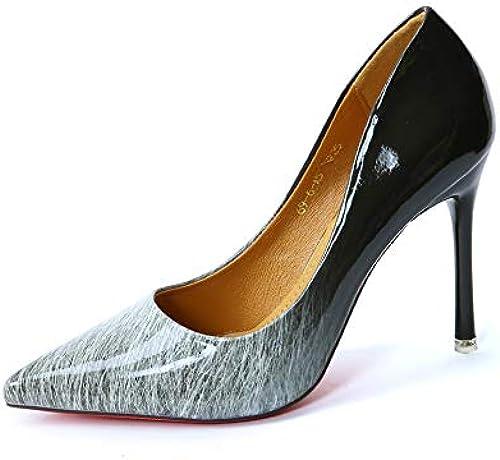 FLYRCX Chaussures de soirée Sexy européennes Les Les dames Bien avec des Talons Hauts Pointus Bouche Peu Profonde en Cuir Verni dégradé Chaussures Simples