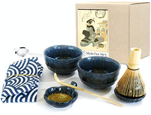 Harold & Harold - Juego de 9 piezas de té Matcha para principiantes. Kit de 2 cuencos con batidor de bambú estilo ceremonia japonesa 2 piezas especial único anti goteo y camino...