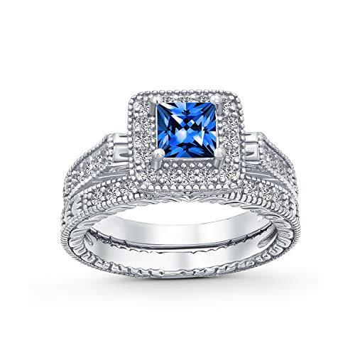 1CT princesa brillante Halo AAA CZ Pave personalizado zafiro compromiso alianza alianza anillo para mujeres de plata de ley