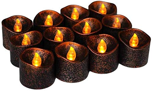 Birthday Decoration, Fake Candles,LED Tea Lights Candles, Halloween, Christmas,12 Pack Flameless Candle Lights Battery Operated Realistic and Bright Flickering Warm Yellow for Valentines Day -