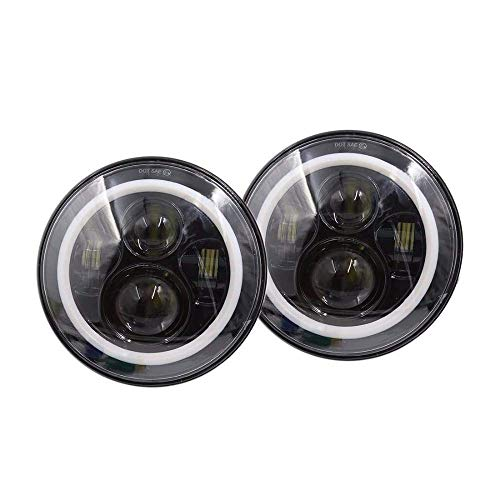 CKQ-KQ Jeep Wrangler Koplampen 7Inch Ronde LED Headlight Conversion Kit met Halo for JK TJ FJ Hummer Vrachtwagens Motorcycle koplamp Work Light