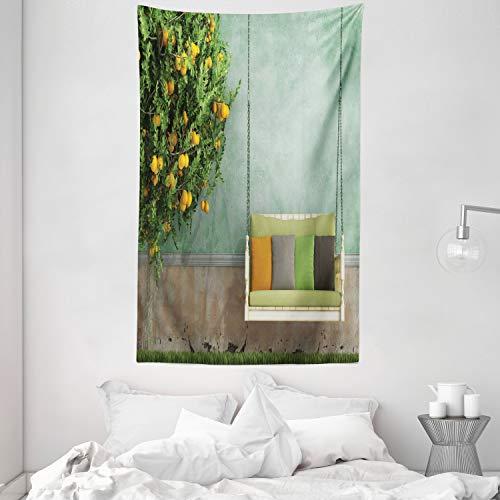 ABAKUHAUS Tuin Wandtapijt, Houten schommel in de tuin, Stoffen Muurdecoratie voor Woonkamer Slaapkamer Slaapzaa, 140 x 230 cm, Geel groen