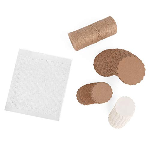 ewtshop® Jumbo Kraftpapier-Geschenkanhänger Set: 200 Anhänger, 100 m Baumwoll-Schnur, 200 Klebepads, Papieranhänger Hängeetiketten Papieretiketten