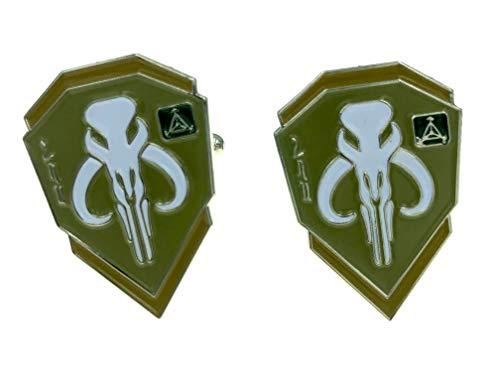Patch Nation Bounty Hunter Boba Fett Mandalorian Bantha Skull Metall Cosplay Cufflinks Manschettenknöpfe (Grün)
