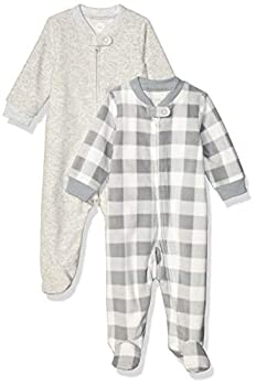 Amazon Essentials Infant Boys Microfleece Footed Zip-Front Sleep and Play 2-Pack Buffalo Check Newborn