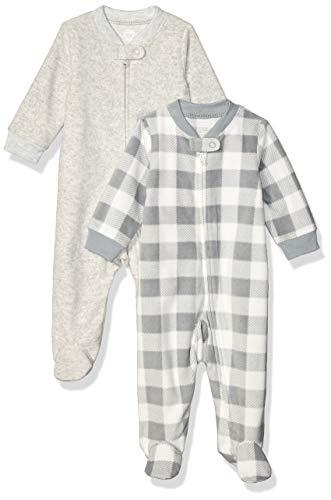 Amazon Essentials 2-Pack Microfleece Sleep and Play Infant Toddler-Sleepers, Cuadros Búfalo, 0-3 Meses