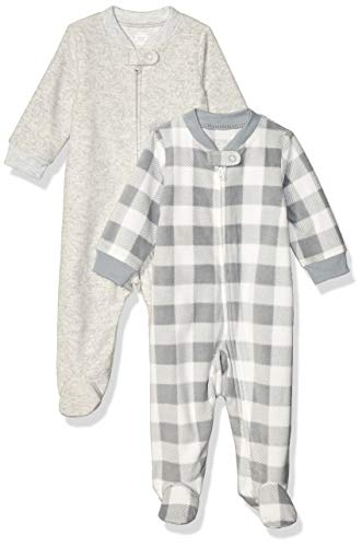 Amazon Essentials 2-Pack Microfleece Sleep and Play Infant Toddler-Sleepers, Cuadros Búfalo, Bebé prematuro