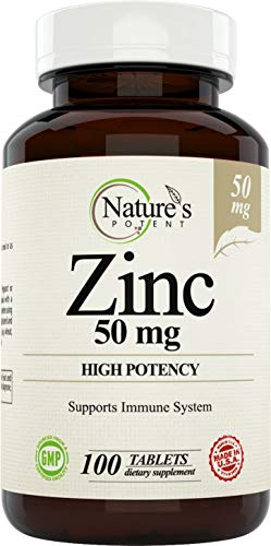 Zinc 50mg [High Potency] Supplement - Immune Support System from Natural Zinc (Oxide/Citrate) 100 Tablets, Made by Nature's Potent.