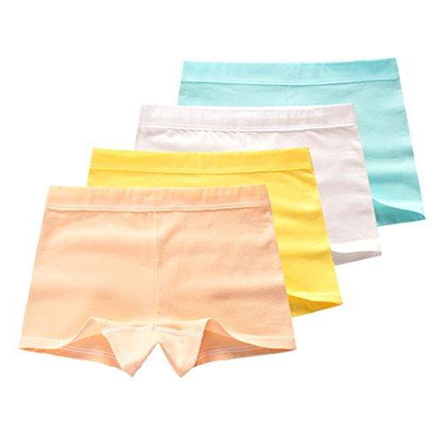 FAIRYRAIN FAIRYRAIN Baby Kleinkind Mädchen Einfarbig Pantys Hipster Shorts Spitze Baumwollunterhosen Unterwäsche 4 Packung