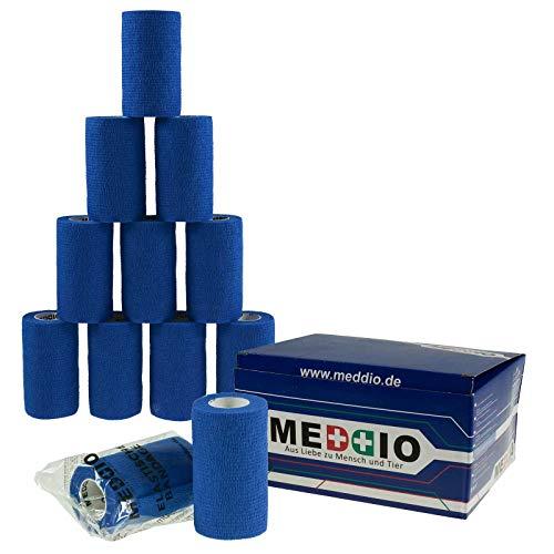 12 Haftbandagen Größe+Farbe wählbar - selbsthaftende Bandage Fixierverband selbstklebend, Farbe:blue, Größe:10cm