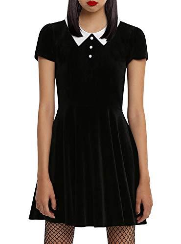 BesserBay Damen Halloween Kurzärmlige Kleid Peter Pan Kragen Costume Skaterkleid
