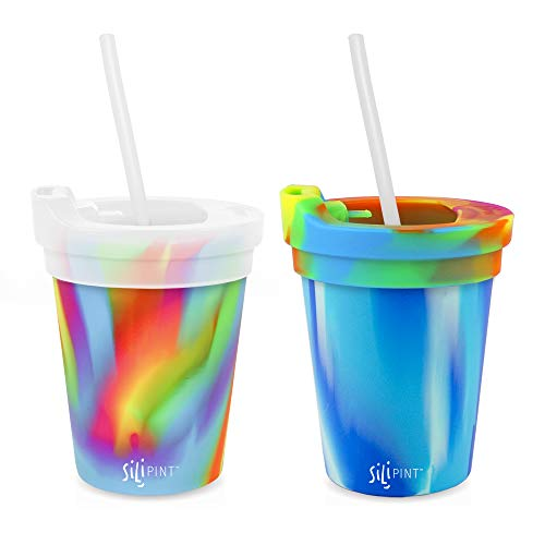 Silipint Silicone Kids' Cups with Lids and Straws, Unbreakable, Durable, Safe and Fun Silicone Kids' Tumblers and Toddler Sippy Cups (2-Pack, Arctic & Hippie)