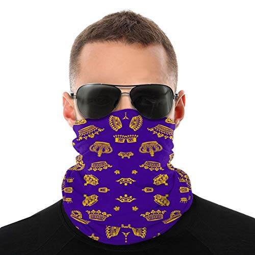 Royal Crowns - Gold On Purple Safety Face Cover Neck Gaiter Bandana Multi Headwear Face Scarf