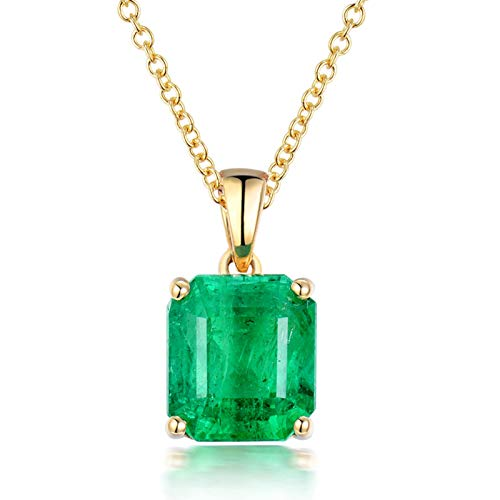 Bishilin Colgante Collar Oro 750, Cuadrado Collares Pendientes 2.5ct Esmeralda Elegante Collar para Mujeres Niñas Regalos para Cumpleaños Navidad Regalos para Cumpleaños Navidad Oro
