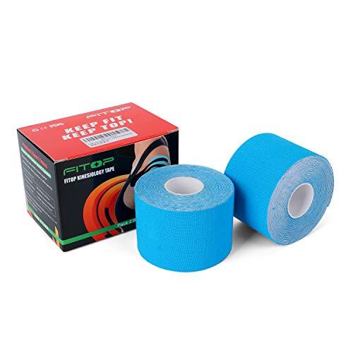 2x FITOP Kinesiologie Tape Elastisches Klebeband 5m x 5cm (Blau)