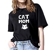 Luckycat Camisetas Mujer Verano Blusa Mujer Elegante Camisetas Mujer Manga Corta Algodón Camiseta Mujer Camisetas Mujer Fiesta Camisetas Sin Hombros Mujer Camisetas Mujer Tallas Grandes
