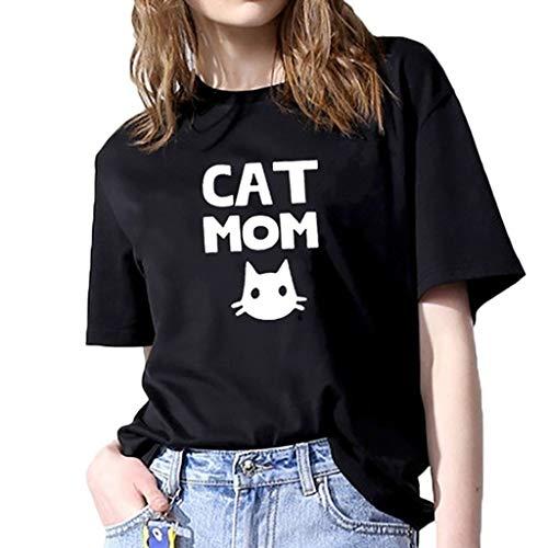 Rawdah* T-Shirt à Manche Courte Joker Casual Lettre Top Coton Mode Femmes Ample Short-Sleeved Imprimé T-Shirt Décontracté O-Cou Top
