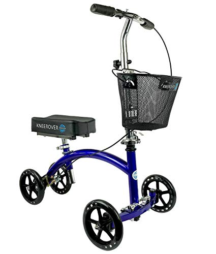 KneeRover Deluxe Steerable Knee Walker Knee Scooter Knee Cycle Leg Walker Crutch Alternative in Blue