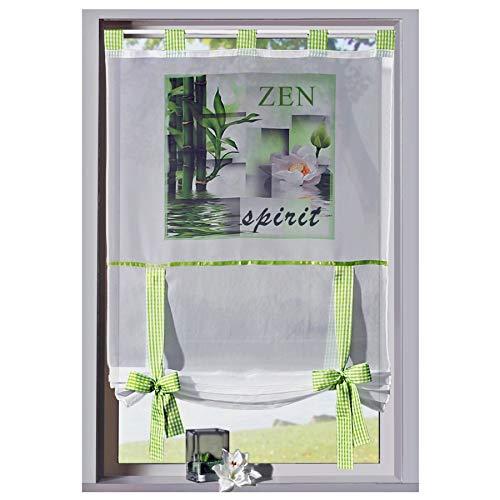 heimtexland ® Gardine Bandrollo Wellness Fotodruck Zen Orchidee Bambus - Schlaufen Raffrollo Vichy Karo grün HxB 120x60 cm - Scheibengardine Typ323