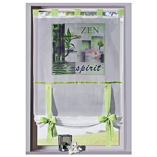 heimtexland ® Gardine Bandrollo Wellness Fotodruck Zen Orchidee Bambus - Schlaufen Raffrollo Vichy Karo grün HxB...