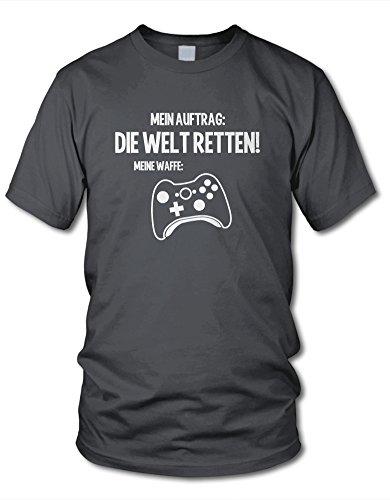 shirtloge - MEIN Auftrag: DIE Welt RETTEN! Meine Waffe: Controller (X) - Kult - Fun T-Shirt - Dunkelgrau (Weiß) - Größe M