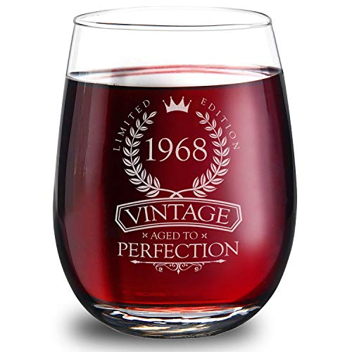 1968 50th Birthday Gifts for Women and Men - Elegant 15oz Stemless Wine Glass. The Perfect 50th Wedding Anniversary Gifts for Dad, Mom, Husband and Wife. Best 50th Birthday Decorations for Him and Her