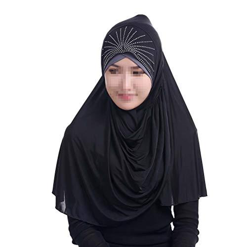 BESTOYARD Gorros envueltos en Seda de Hielo musulmán Hijab de Moda para Mujer Ramadán islámico Hijab (75x75cm, Negro)