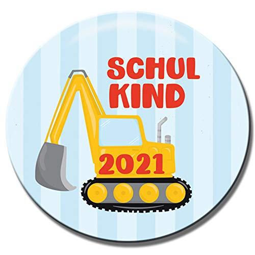 Polarkind Button Pin Anstecker Schulkinder Geschenk zum Schulanfang 2021 38mm Handmade (Motiv: Bagger)