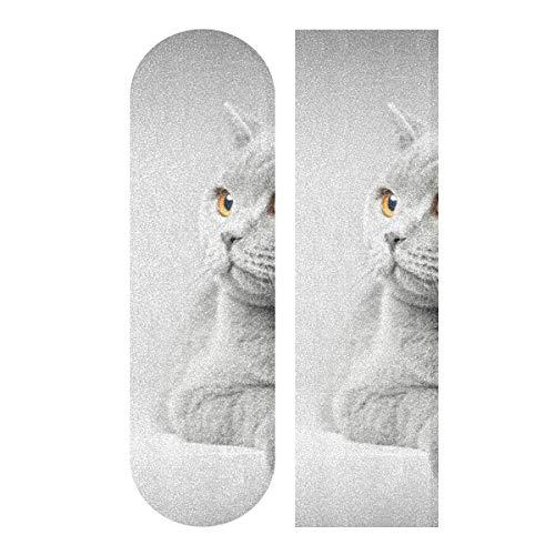 MNSRUU Katze liegend auf weißem Tisch Skateboard Griptape Blatt Scooter Deck Sandpapier 22,9 x 83,8 cm