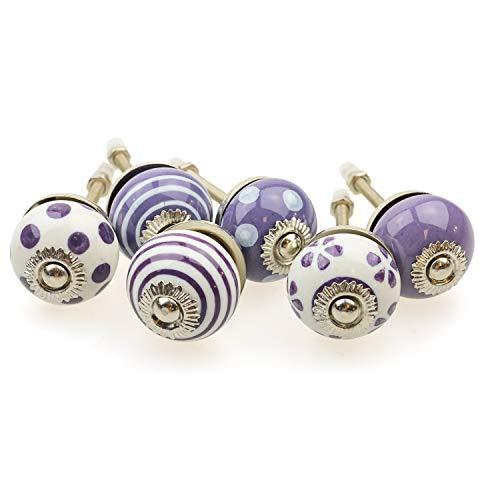 Set di 6 pomelli per mobili piccoli 091GN_SM a pois bianchi e viola – Jay Button ceramica porcellana dipinta a mano vintage per mobili, armadi, cassetti, cassettiere, porte