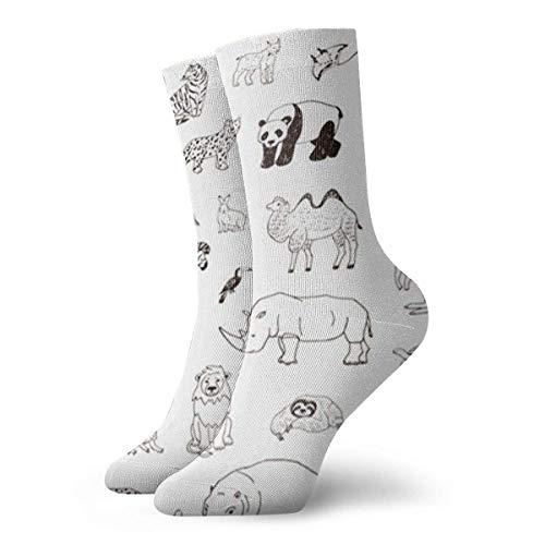Linien-Set, handgezeichnete Tiere, Wildtiere, Afrika, für Herren und Damen, lustig, bunt, 30 cm, Sportsocken