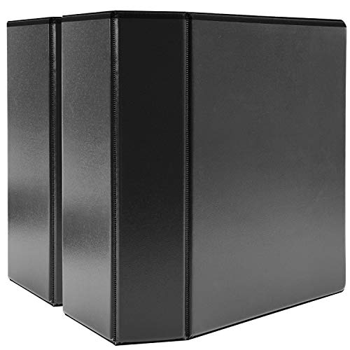 "AmazonBasics 5"" Heavy-Duty View 3 Ring Binder, Black, 2/Pack"