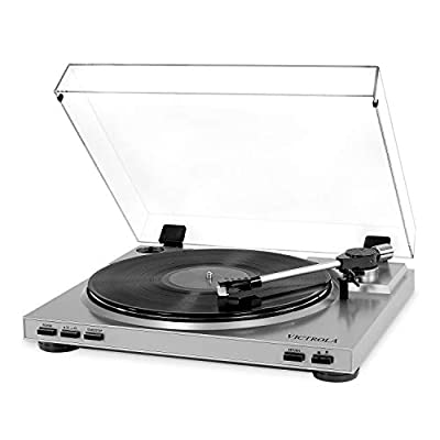 Victrola Pro Automatic Belt Drive Turntable Vinyl-To-MP3 USB Recording, Silver