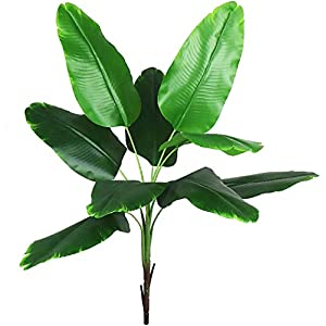 Ollain Artificial Plants Faux Banana Tree Tropical Monstera Leaf Fake Tropical Turtle Large Palm Leaves Fern Fake Green Bushes Shrubs Greenery Party Outdoor UV Garden Resistant Decor (Banana Leaves)
