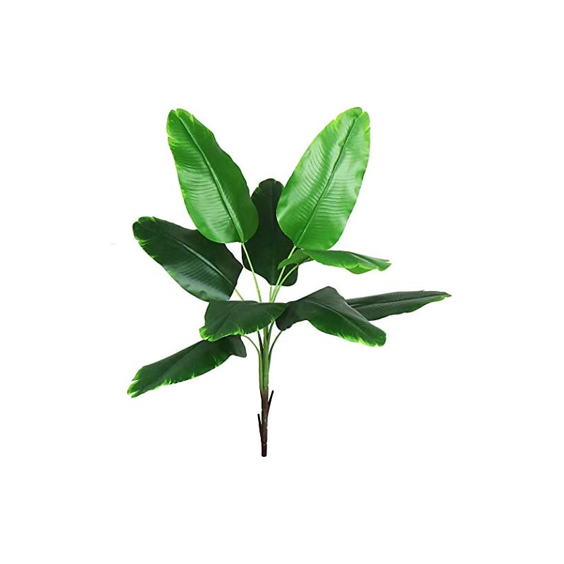 silk flower arrangements ollain artificial plants faux banana tree tropical monstera leaf fake tropical turtle large palm leaves fern fake green bushes shrubs greenery party outdoor uv garden resistant decor (banana leaves)