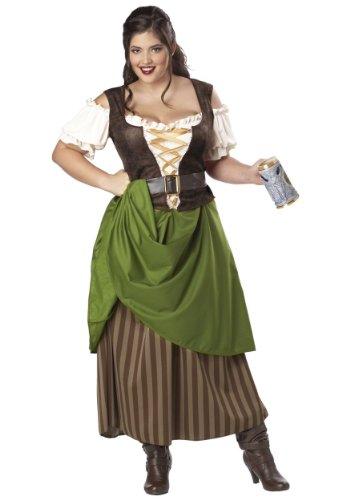 Plus Size Tavern Maiden Costume 1X Brown