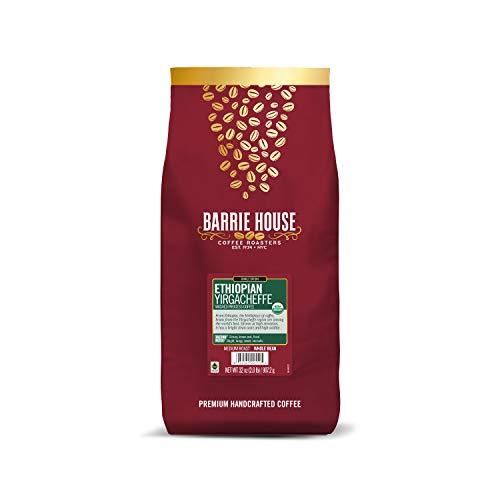 Barrie House Ethiopian Yirgacheffe Whole Bean Coffee, 2 lb Bag   Fair Trade Organic Certified  Medium Roast   High Acidity and Clean Finish   100% Arabica Coffee Beans