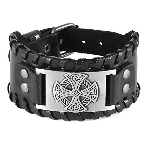 HZMAN Celtic Knot Cross Nordic Viking Pirate Irish Knot Metal Amulet Cuff Leather Bracelet for Men Women