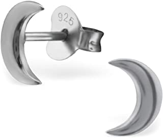 925 Sterling Silver Black Ruthenium Plated Crescent Moon Ear Studs 24833