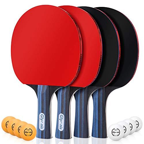 Glymnis Tischtennisschläger Set Tischtennis Set 4 Schläger 8 Bälle mit 2 Nylontasche (Verpackung MEHRWEG)