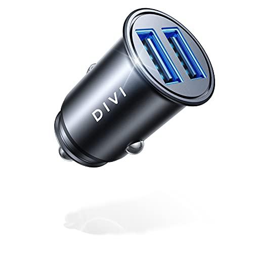 DIVI Caricabatteria auto USB, 4.8A/ 24W Tutto metallo Caricatore adattatore 2 Porte Super Mini Caricabatterie da auto macchina per iPhone 12/11 pro/XR/x/7/6s, iPad, Galaxy S8/S7/Edge, Huawei(Nero)