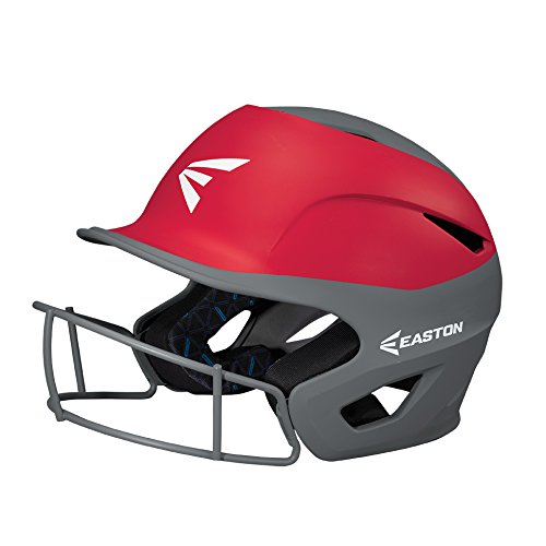 EASTON PROWESS Softball Batting Helmet W/ Mask, Small/Medium, Matte Red/Charcoal