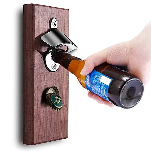 GWL Abridor de botellas de pared retro con tapa magnética, abridor de botellas de cerveza magnético para frigorífico o montaje en pared, para hombres y amantes de la cerveza (A)