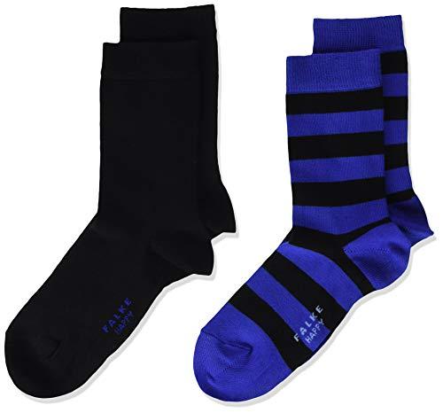 FALKE Unisex Kinder Happy Stripe 2-Pack K SO Socken, Schwarz (Black 3000), 35-38 (9-12 Jahre) (2er Pack)