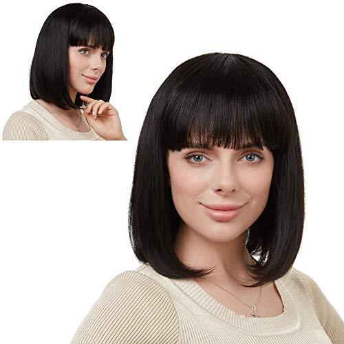 Ealicere 1 PCS 40cm Kurz Gerade Bob Perücke Synthetik Perücke Hitzeresistente Schwarz Perücken Hair WigDamen