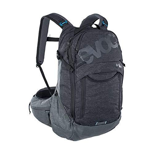 EVOC TRAIL PRO 26l Protektor Rucksack für ausgiebige Fahrradtouren (Größe: S/M, LITESHIELD PLUS Rückenprotektor, extrem leicht, breite Hüftflossen, 3l Trinkblasenfach), Schwarz / Carbon Grau
