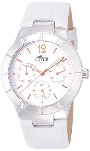 Lotus 0 - Reloj de cuarzo para mujer, con correa de cuero, color blanco