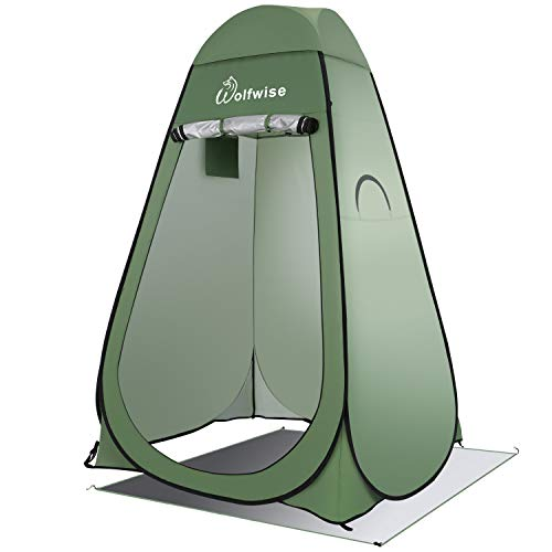 WolfWise Shower Tent Privacy Portable Camping Beach Toilet Pop Up Tents Changing Dressing Room Outdoor Backpack Shelter Green